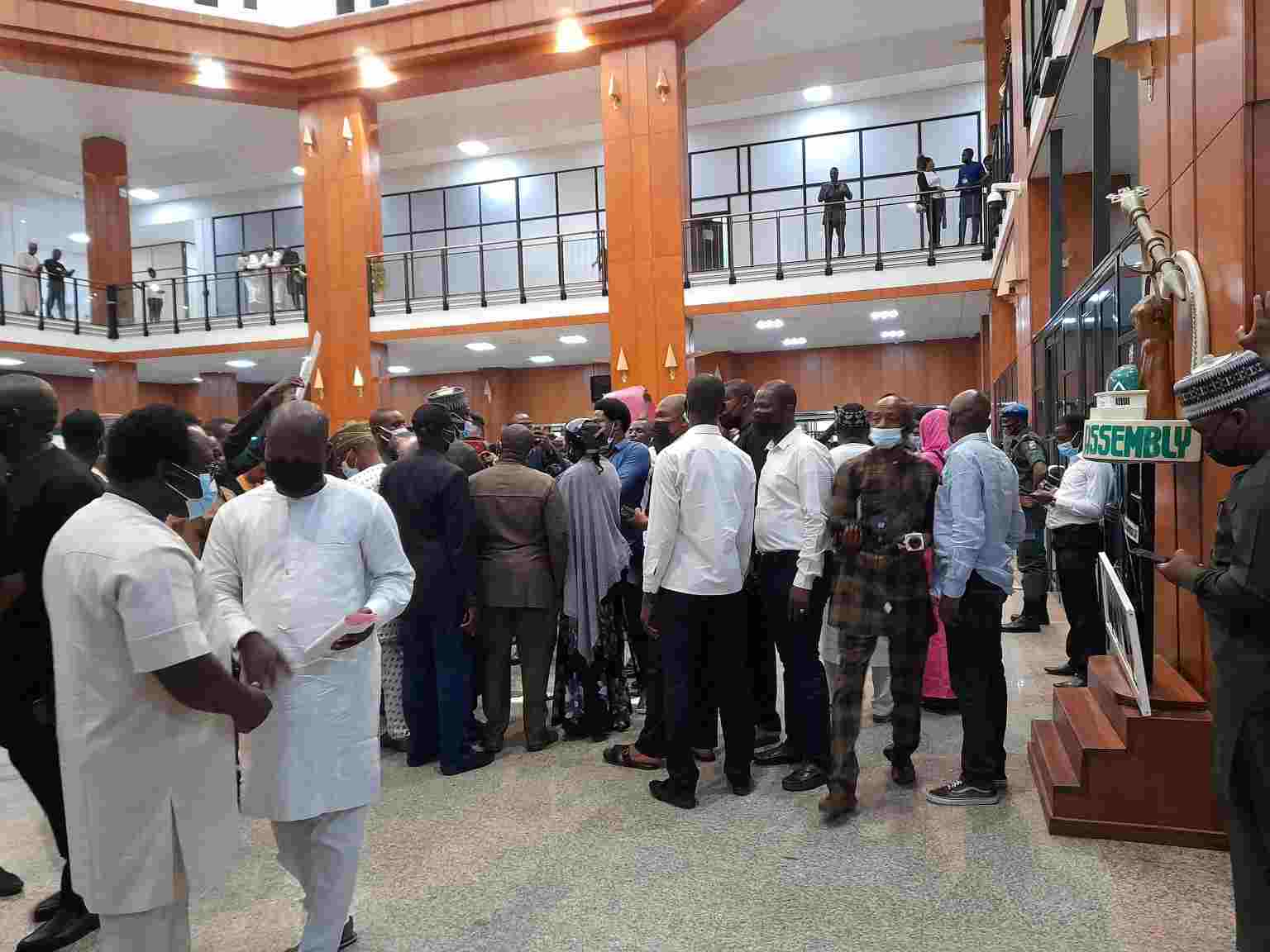 Protesting legislative aides hold Speaker, Gbajabiamila
