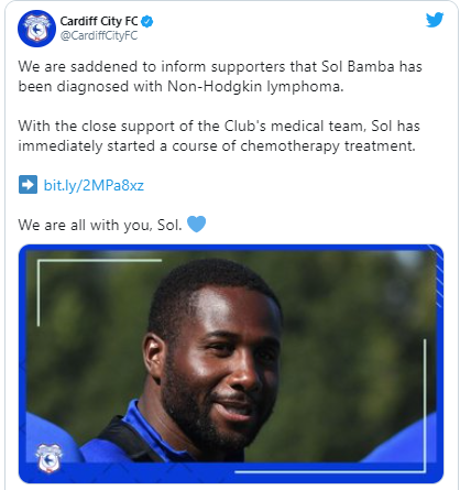 Cardiff City And Ivory Coast Defender, Sol Bamba Diagnosed With Cancer