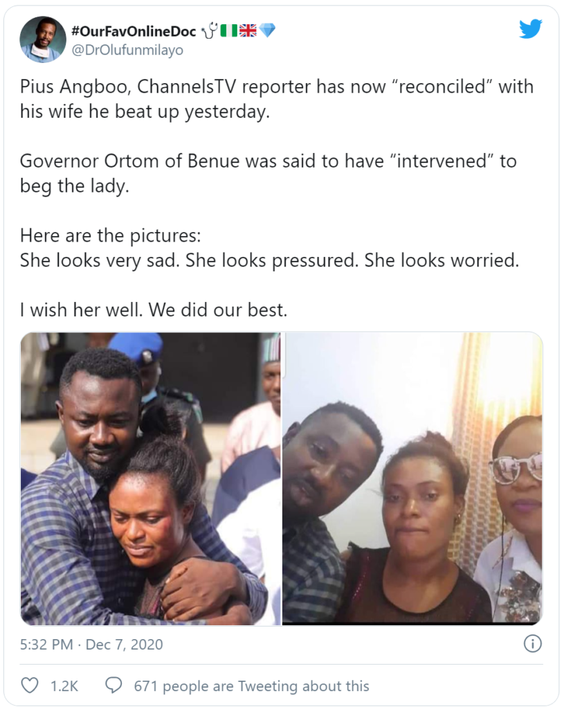 ChannelsTV Reporter, Pius Angbo, Reconciles With His Wife He Beat Mercilessly… But She's Looking Sad & Pressured [Photos]