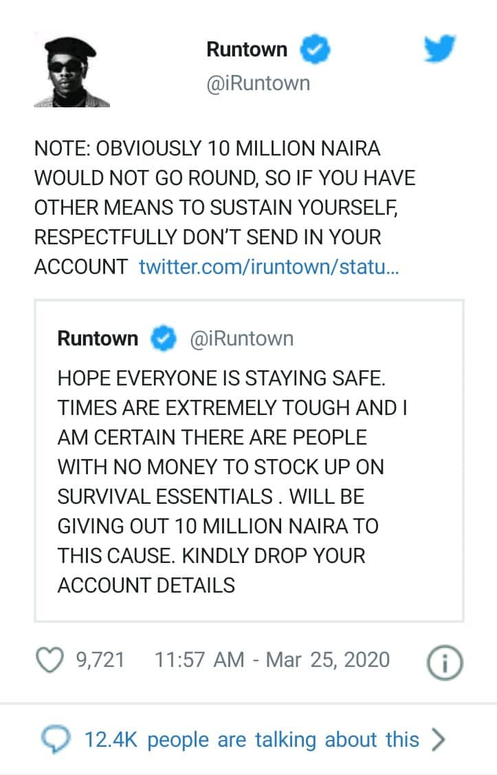 COVID-19: Runtown To Gift 10Million To Nigerians As Total Lockdown Looms