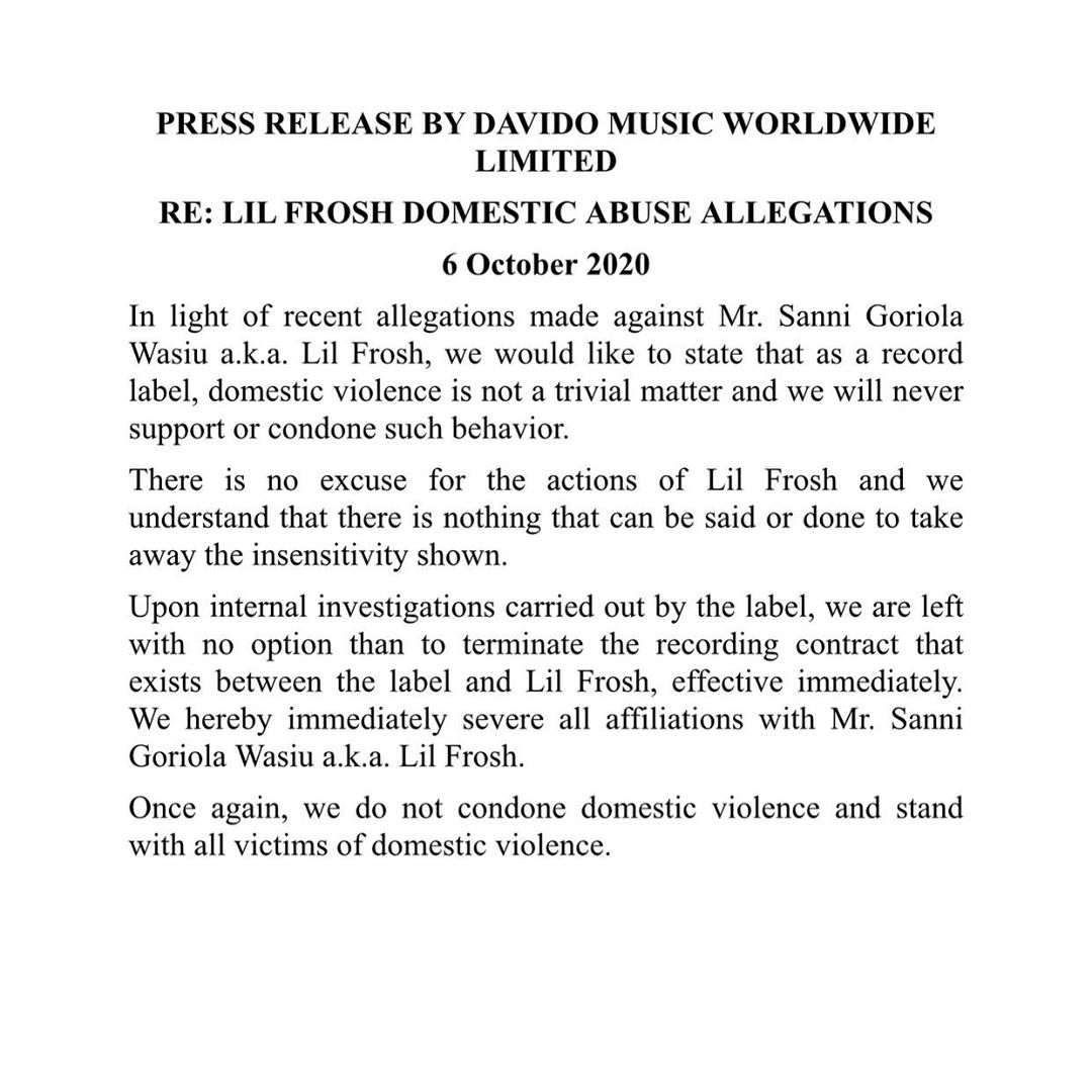 Davido terminates Lil Frosh's Record Label Deal with DMW over Domestic Violence Saga