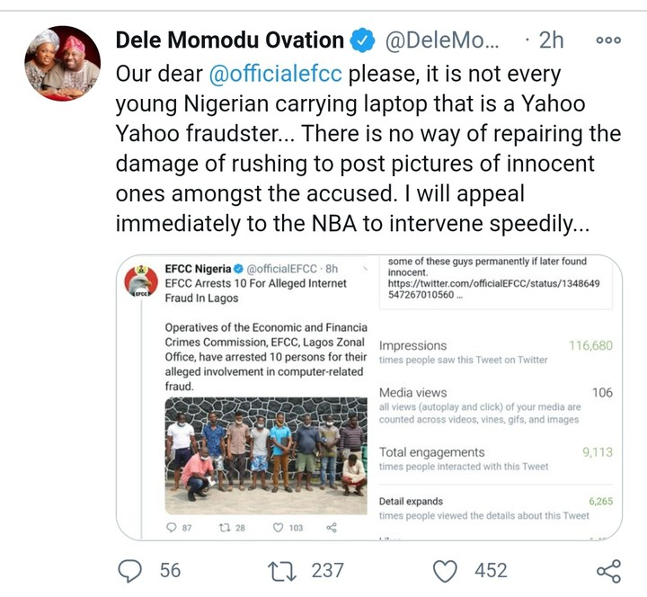 Dele Momodu Begs EFCC To Stop Parade Of Arrested Suspects (Photo)