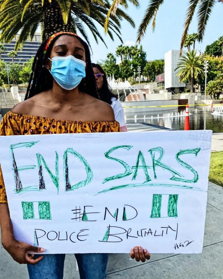 #EndSars: Rapper, Yung6ix Leads Protest In Los Angeles, US (Photos)