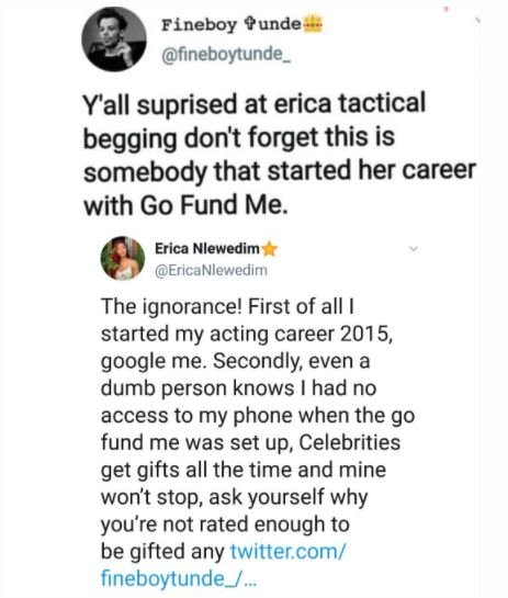 Erica Replies Troll Who Described Her As A Tactical Beggar