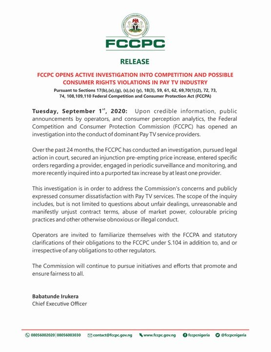 FCCPC Opens Investigation On DSTV, GOTV and Others