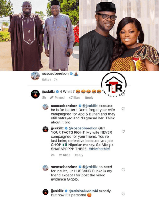 Funke Akindele's Husband, JJC Skillz and Soso Soberekon Drag each other over Politics