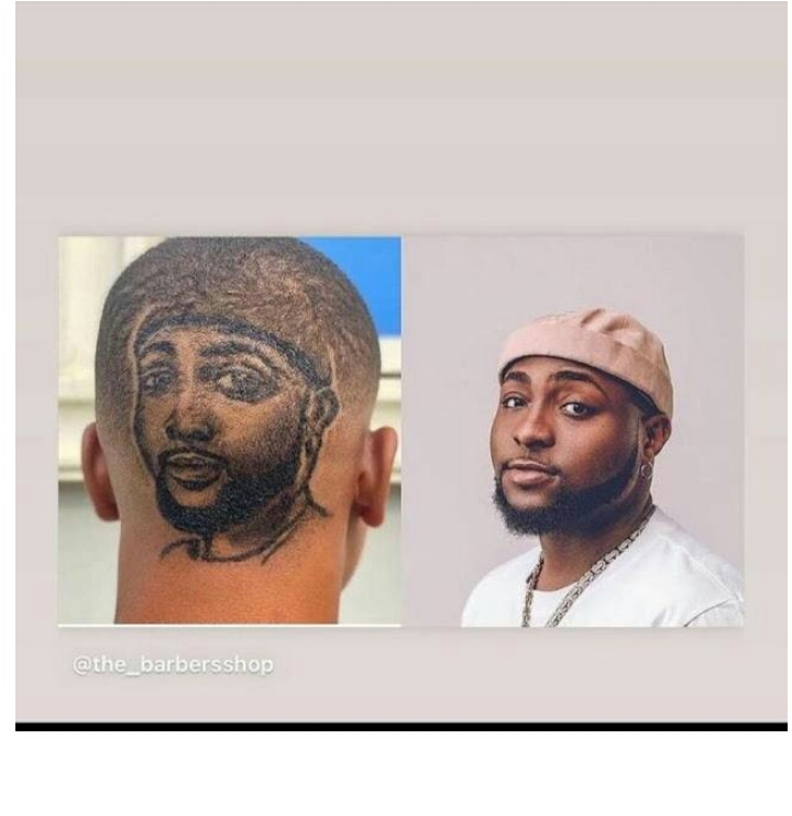 Hardcore Fan Gets Haircut With Davido's Face on His Head