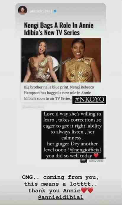 """Her Ginger Dey Another Level"" - Annie Idibia Gushes Over Nengi's acting skills"