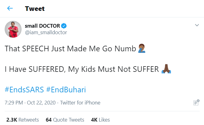 """""""I have Suffered, My Kids must not Suffer"""" - Small Doctor reacts to Buhari's Broadcast"""