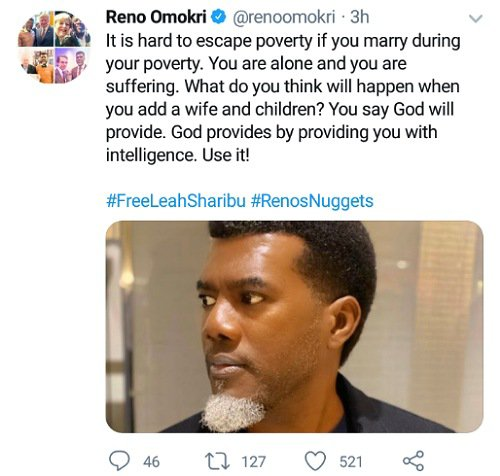 """It is hard to Escape Poverty if you Marry during your Poverty"" - Reno Omokri"