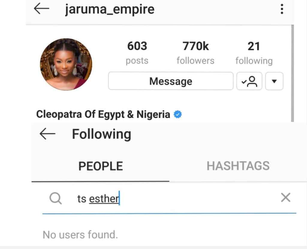 Jaruma and Esther unfollow each other on Instagram