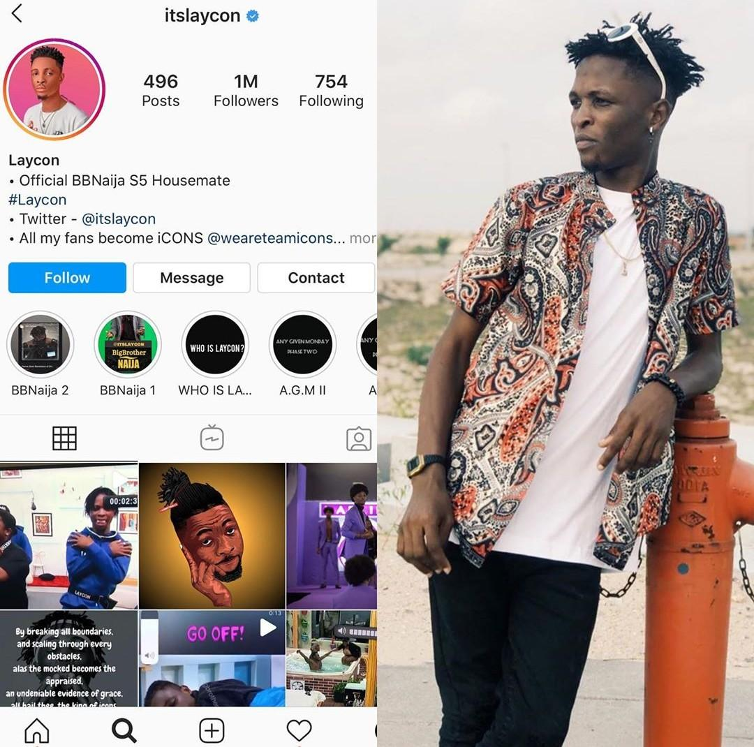 Laycon Breaks Record As He Becomes First Housemate To Hit 1Million Followers On IG While In The House