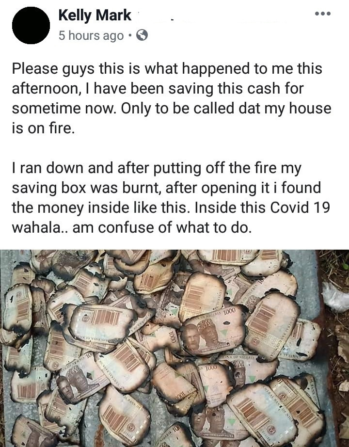 Man Cries out after Losing all the Savings in his Saving Box when Fire Gutted his Home