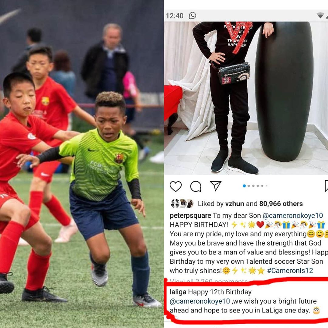 Mr P's Son, Cameron Okoye Gets Recognized By Laliga and Top FIFA Agent