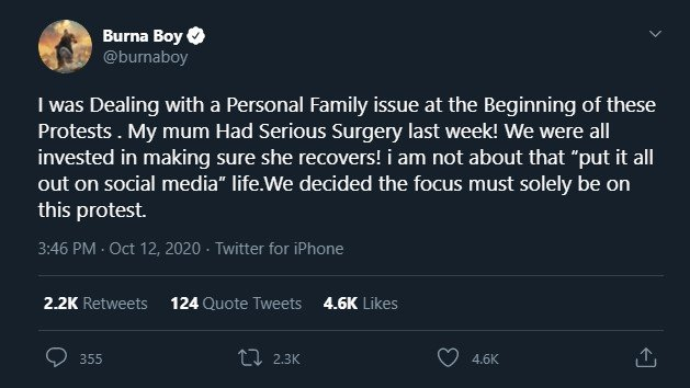 """My Mum Had Serious Surgery"" Burna Boy Gives Reason For Not Protesting"