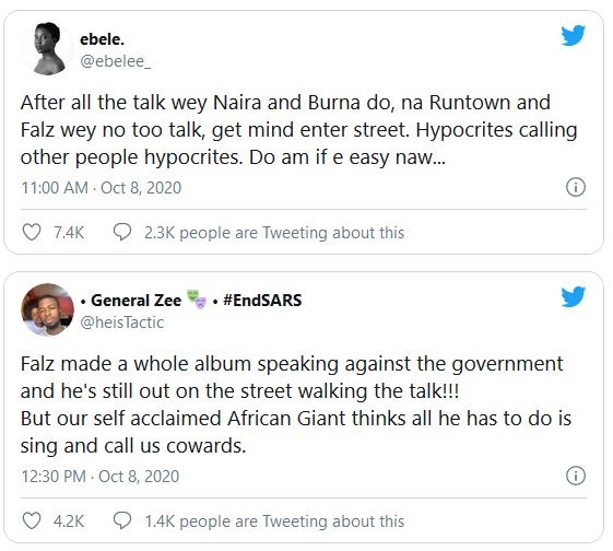 Naira Marley & Burna Boy Ridiculed For Failing To Join #EndSARS Protest