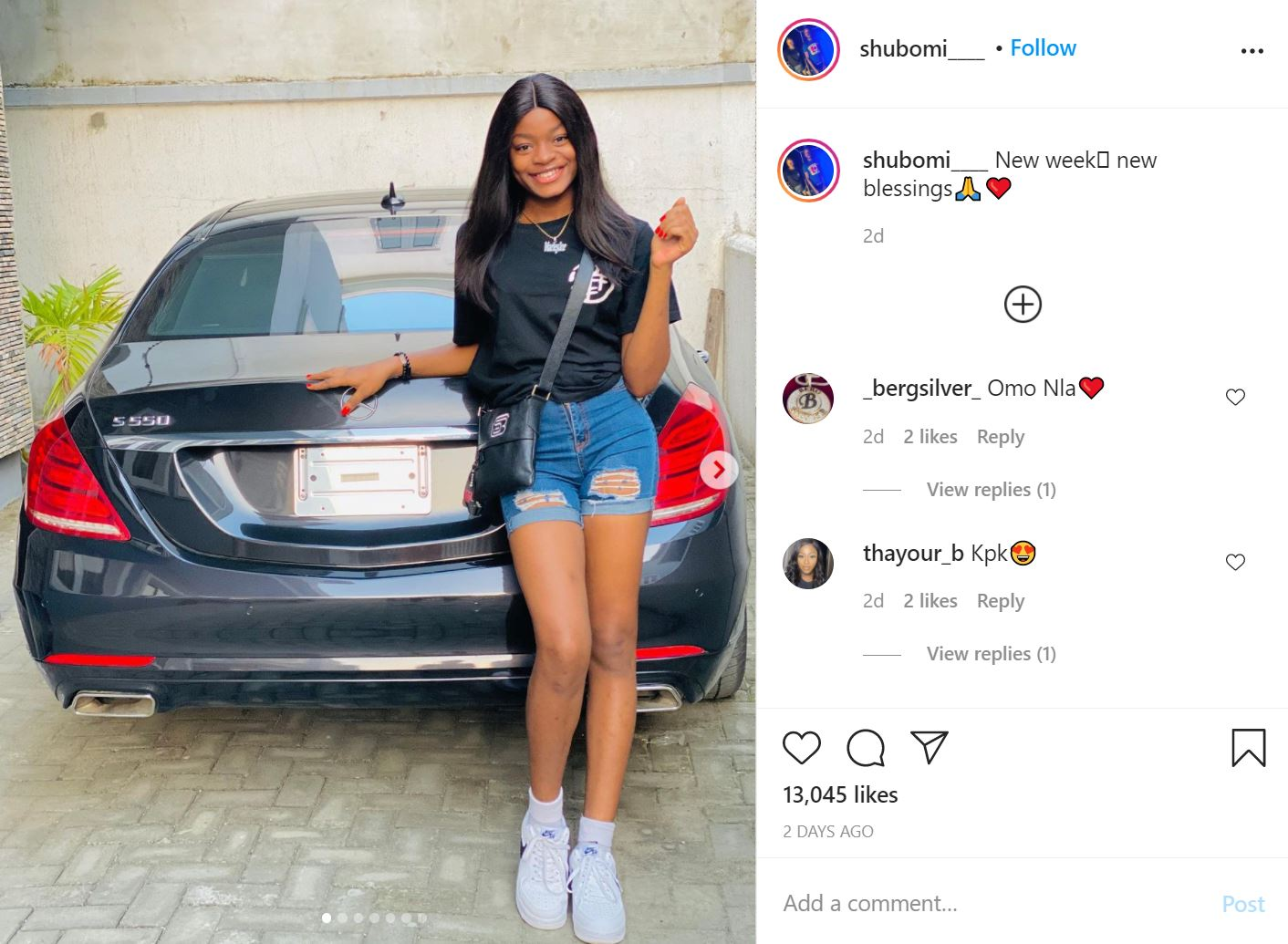 Naira Marley's Sister, Shubomi Acquires Brand New Mercedes Benz [Photos]