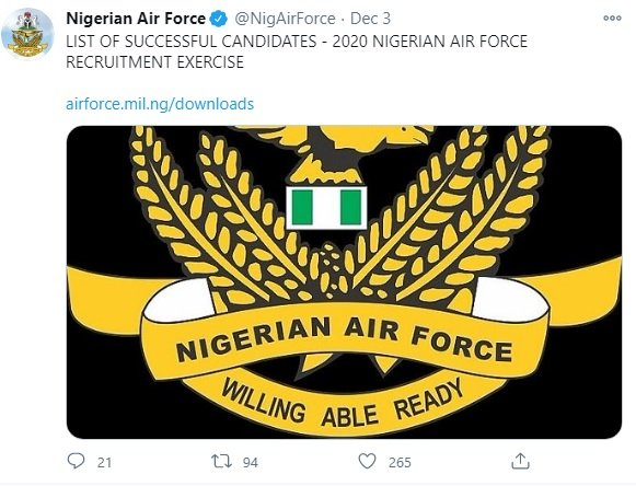 Nigerian Air Force shortlists 920 candidates for training, issues directives