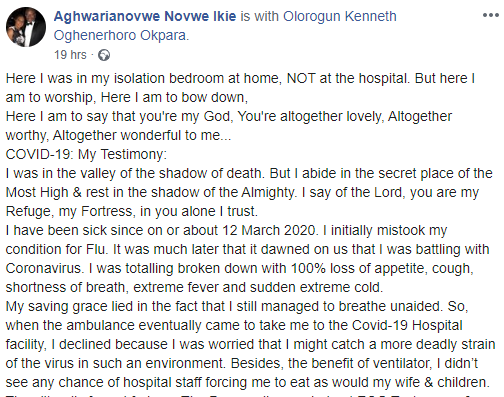 Nigerian man Diagnosed with Coronavirus in the UK, Shared his near-Death Experience