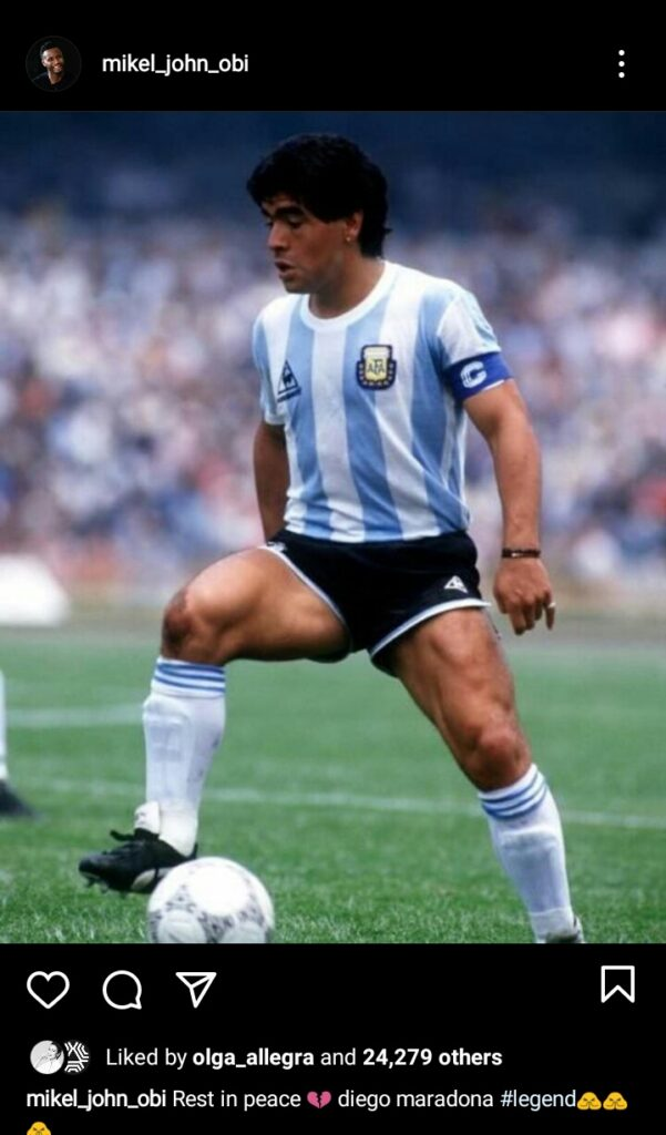Obi Mikel, Victor Moses React To Death Of Argentina Legend Maradona With Emotional Tribute