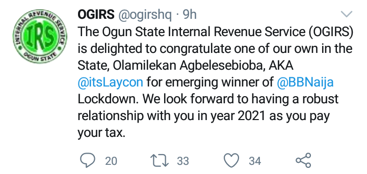 Ogun State Internal Revenue Service Also Reminds Laycon About His Tax