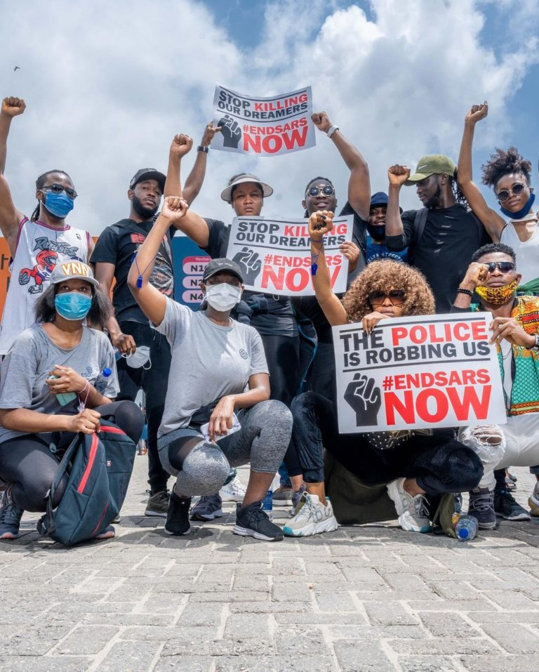 Omotola Jalade Ekeinde And Her Family Join #EndSARS Protest