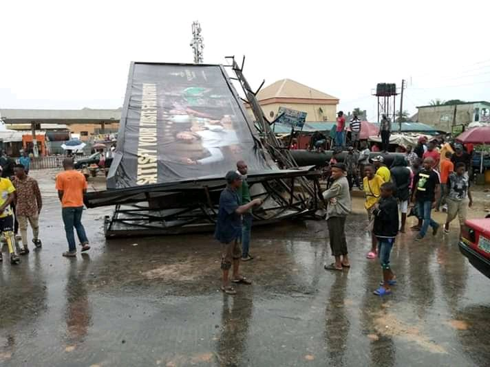 One Dead and One left Hospitalized after Billboard falls in Aba (See Photos)
