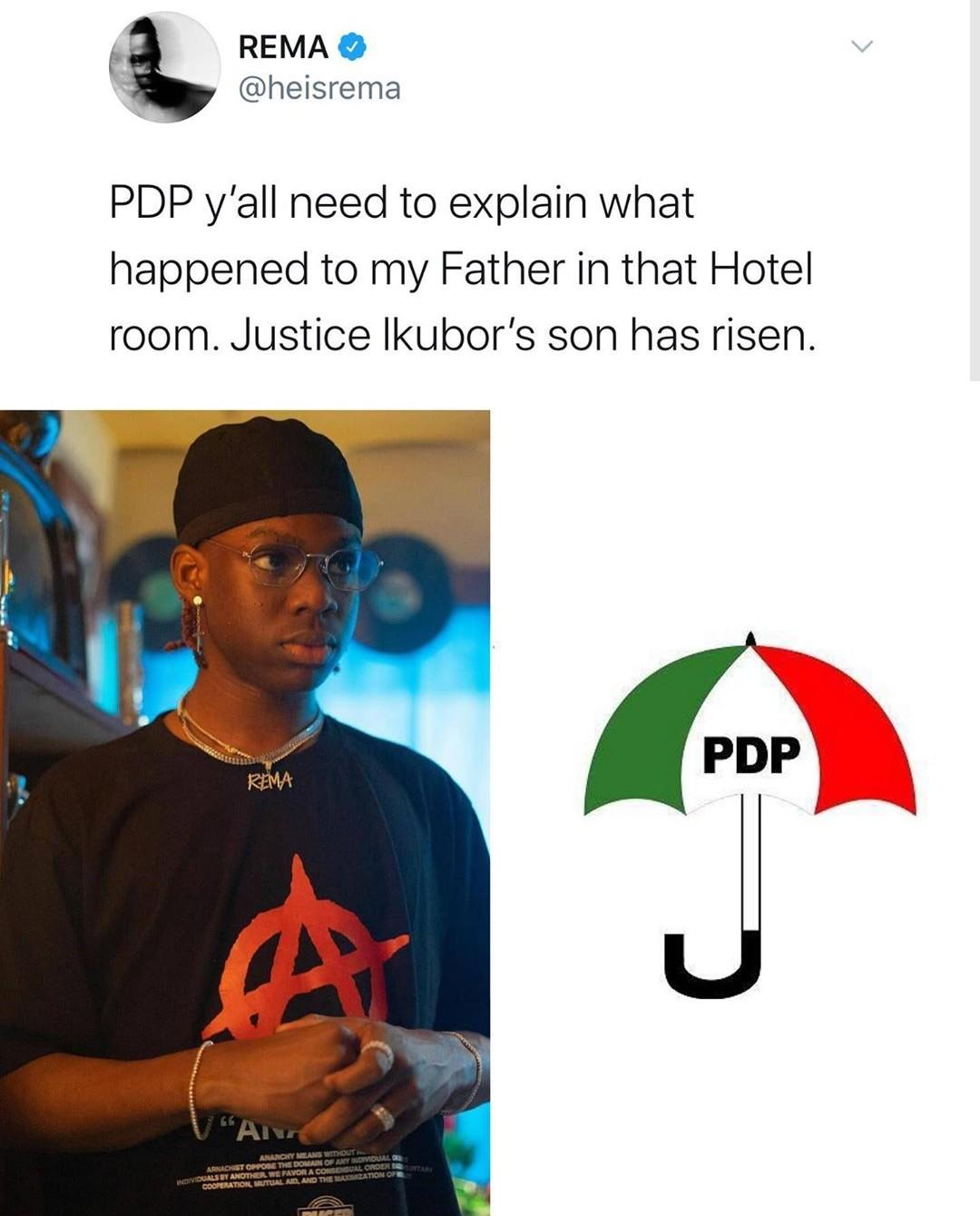 Rema Tackles PDP Over The Death Of His Father In A Hotel Room