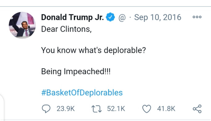 See Donald Trump Jr. Tweet From 2016 Mocking Clinton's Impeachment