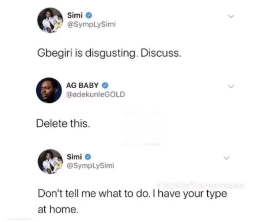 Simi and Adekunle Gold 'Fight Dirty' on Twitter over Semo and Gbegiri