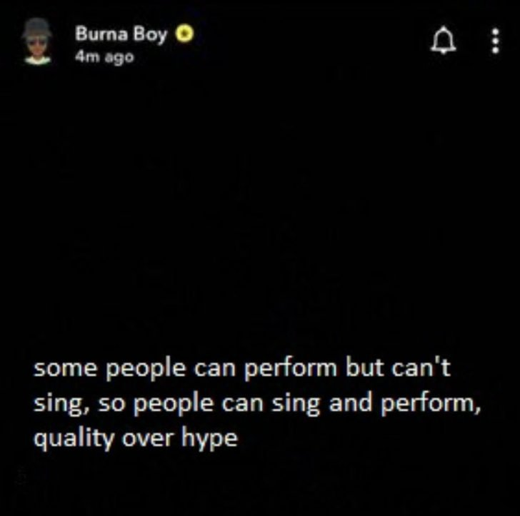 Who Is Burna Boy Shaming? See What He Posted After Grammy Nomination