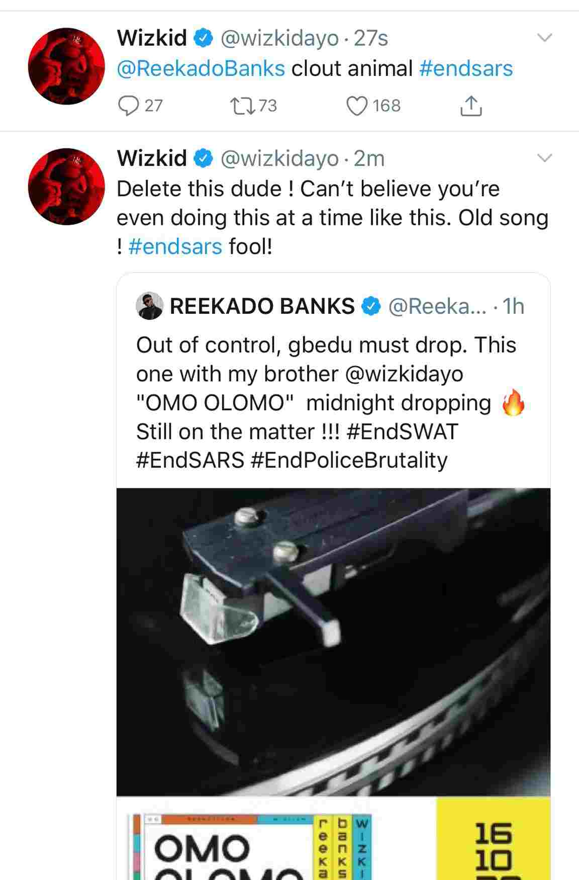Wizkid blasts Reekado for Releasing their 'Old Song' Amidst #ENDSARS protests