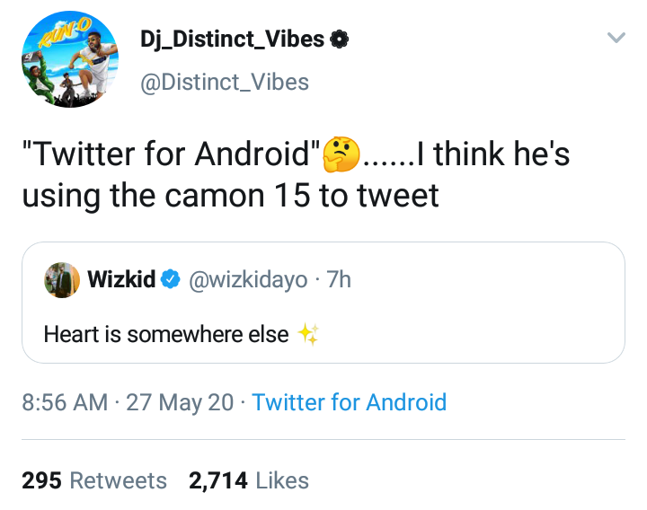Wizkid replies Fan who was Surprised he Tweeted with Android phone