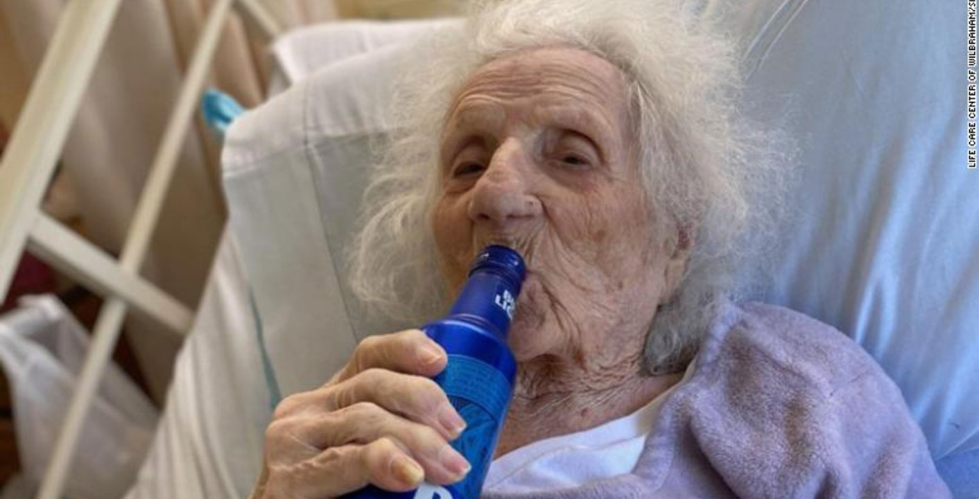 103Years Old Woman Celebrates Covid-19 Recovery with a cold Beer
