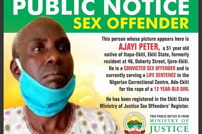 51Years Old Convicted Rapist Publicly Named And Shamed In Ekiti (See Photo)