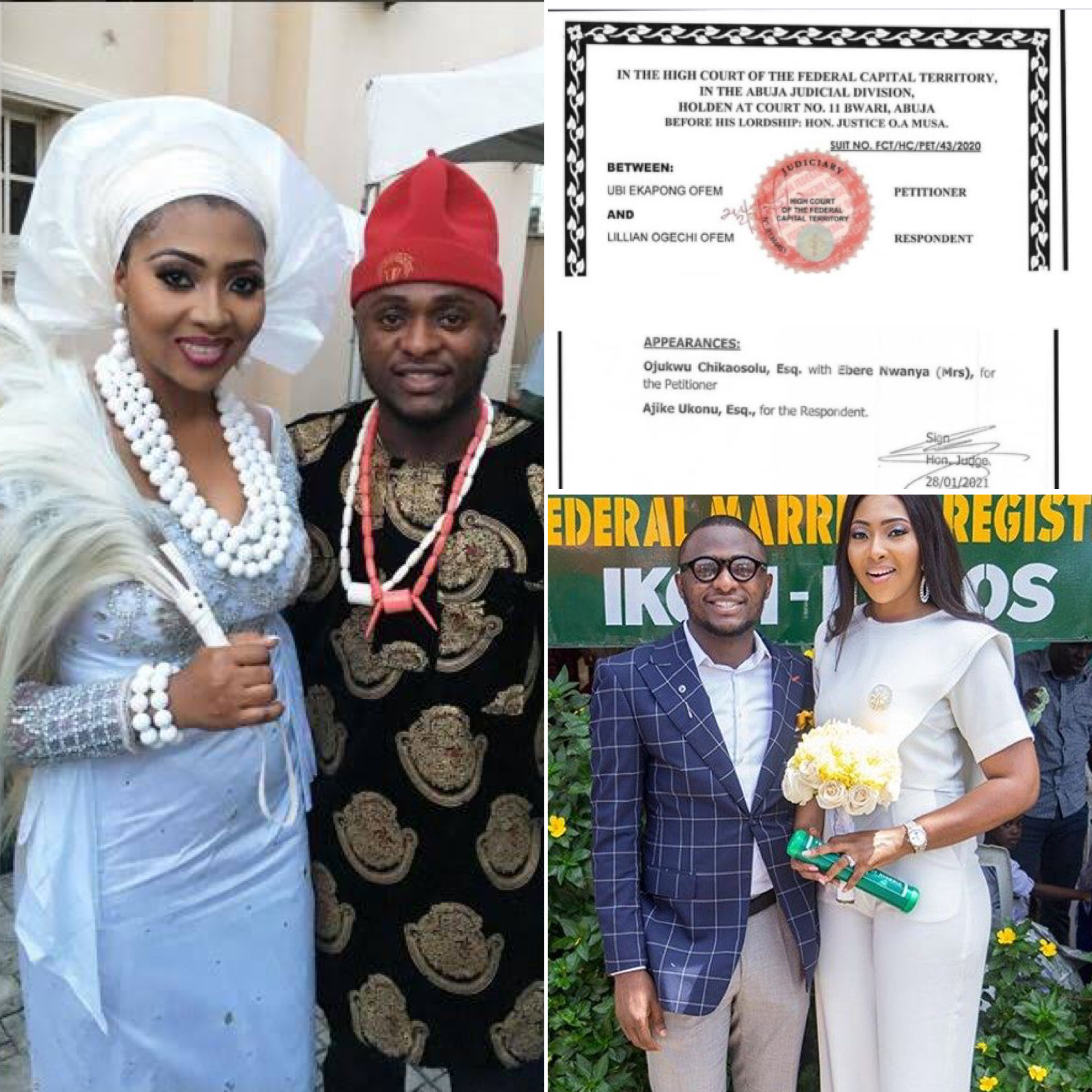 Abuja High Court FInally Dissolve Ubi Franklin And Lilian Esoro's Marriage