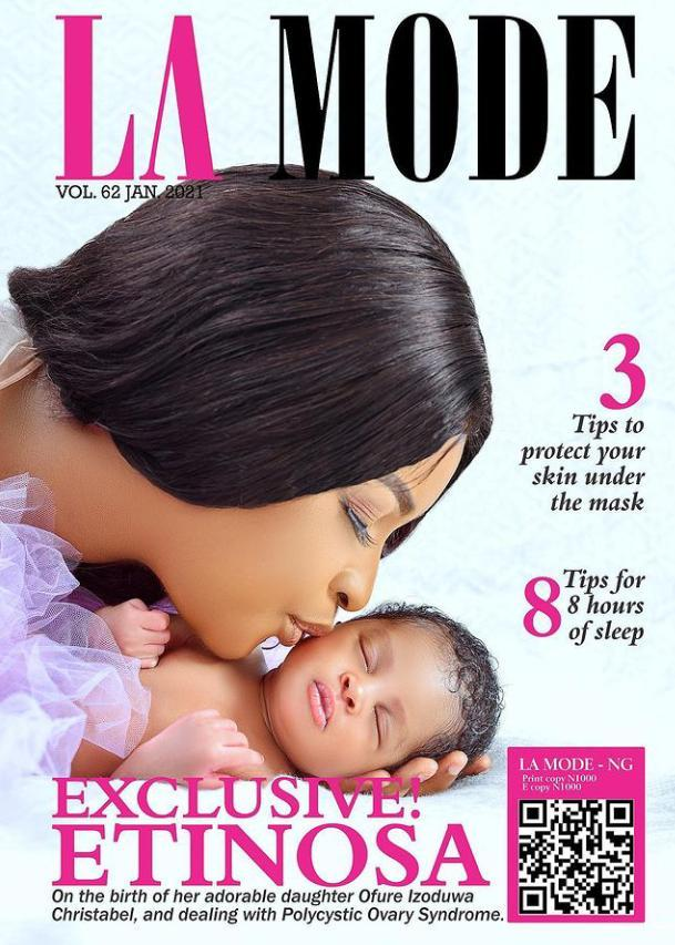 Actress, Etinosa unveils her daughter, Christabel as they grace La Mode magazine cover