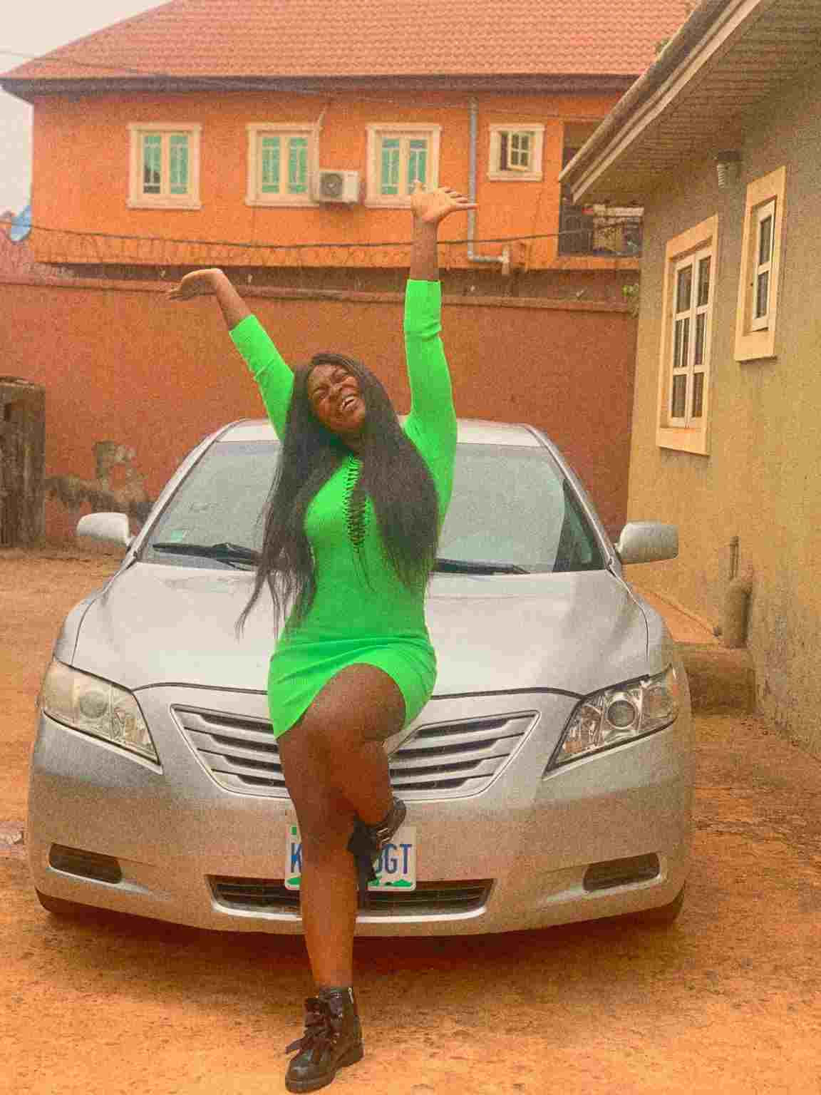 Actress, Ezeani Chinaza gifts herself a car weeks after praying for it (Photos)