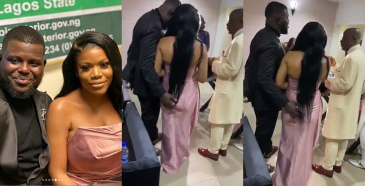 Bisi Olatilo's son, Babajide grabs his Fiancee's butt during Prayers on their Wedding day
