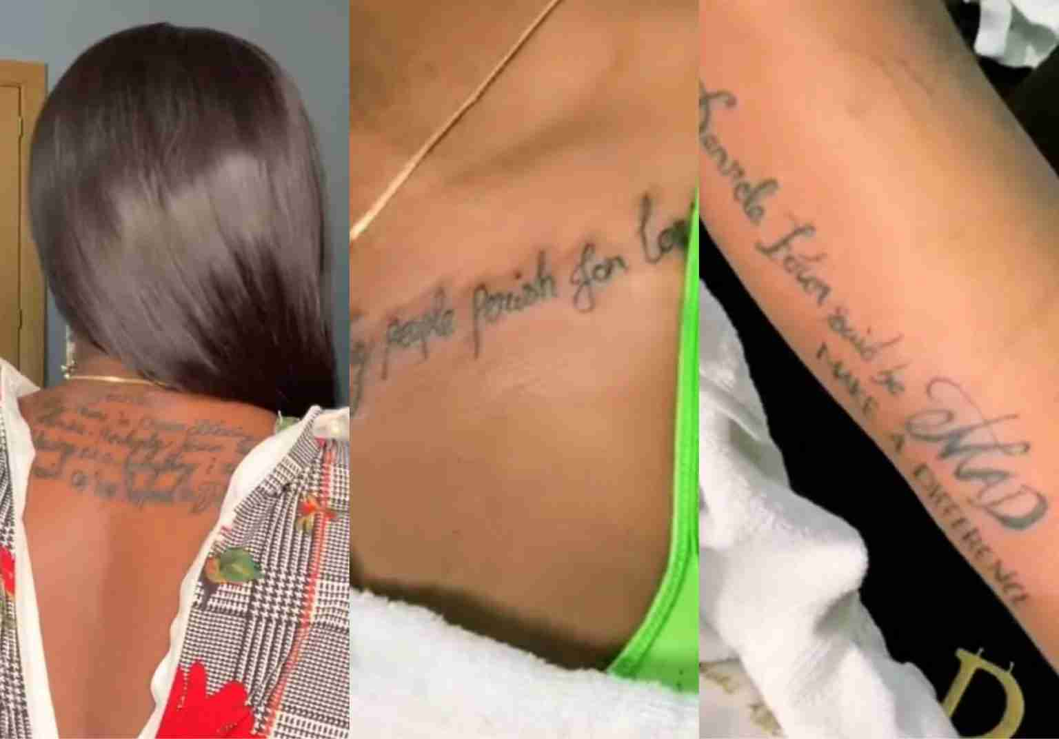 Blessing Okoro Inks Denrele Edun's Name And Quote On Her Body