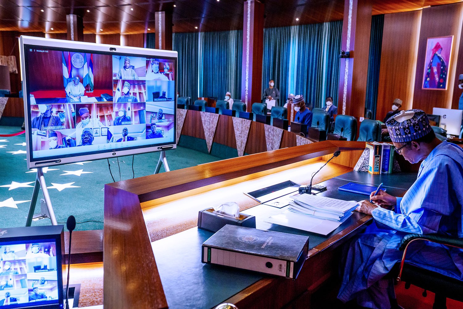 Buhari In Video Meeting With European Council President Over Okonjo Iweala