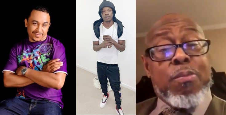 Daddy Freeze, Naira Marley react to viral video of Pastor Wilson eating up a lady