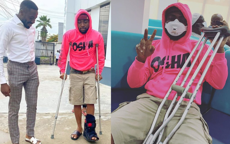 Davido Confined to Crutches after Sustaining Leg Injury (Photos)