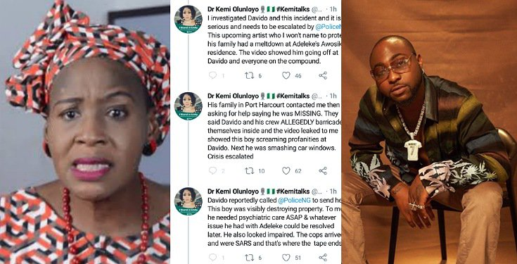 Davido used SARS to Arrest Someone and the Person has not Been seen Since then - Kemi Olunloyo