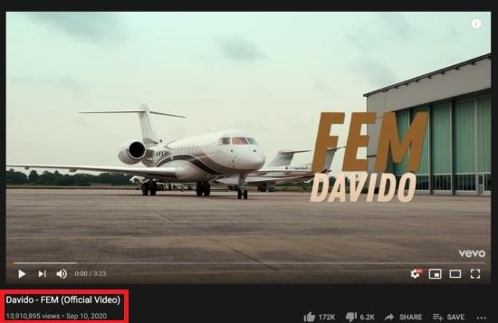 Davido's FEM Music Video Gathers Over 13 Million Views On YouTube