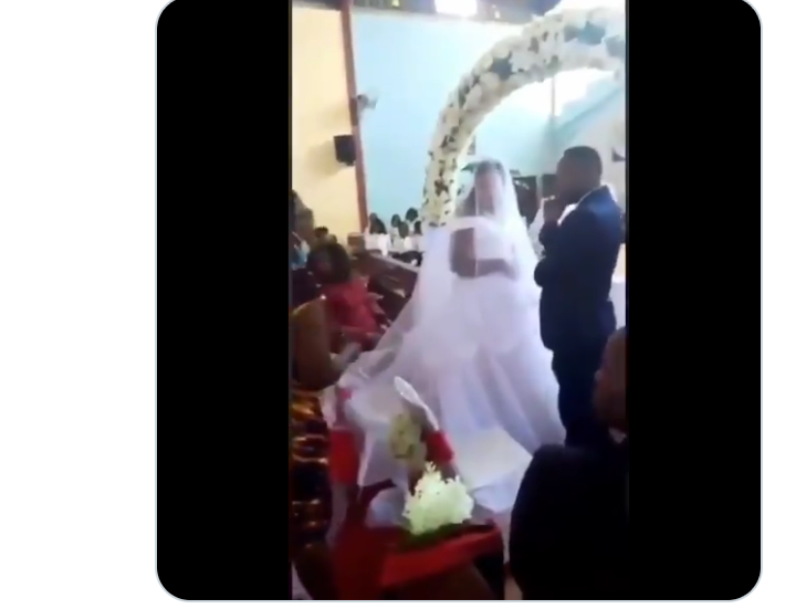 Drama As Woman Disrupts Wedding Ceremony, Says Groom Is Her Husband (Watch Video)