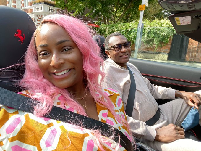 """Father of the Year"" - Femi Otedola Becomes first Passenger in DJ Cuppy's new Ferrari"