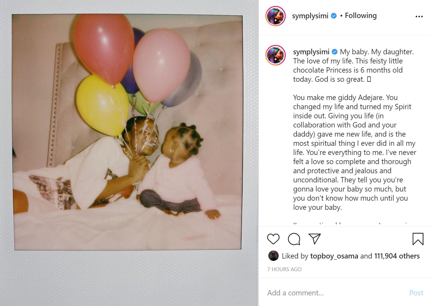 'Happy Half Birthday' – Simi Celebrates Daughter, Adejare At 6-Months-Old