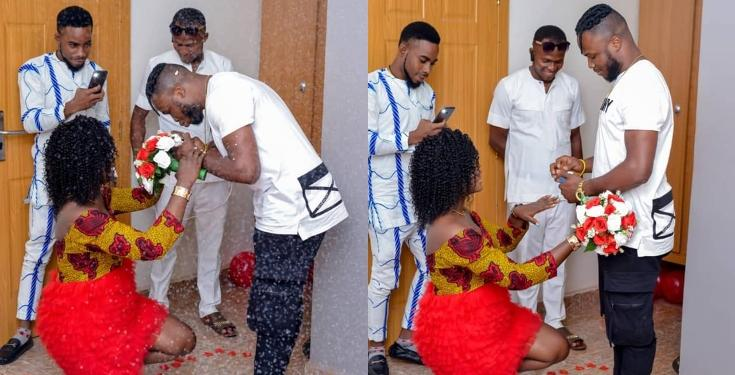 """He deserves it"" - Lady says as she Kneels Down to Accept her Boyfriend's Proposal (Photos)"