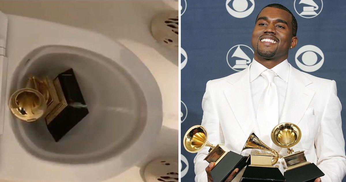 Kanye West urinates on his Grammy award (Watch Video)